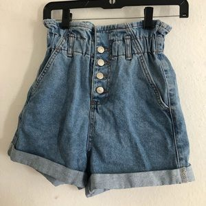 Topshop blue high wasted shorts with flare
